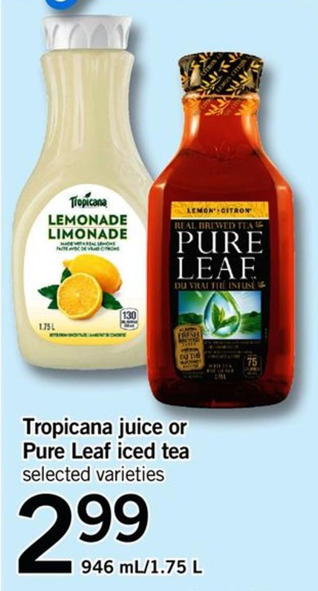 Tropicana Juice Or Pure Leaf Iced Tea - 946 Ml-1.75 L