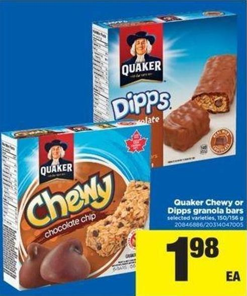 Quaker Chewy Or Dipps Granola Bars - 150/156 g