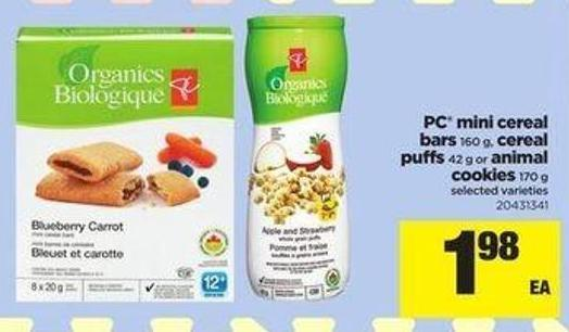 PC Mini Cereal Bars 160 G - Cereal Puffs 42 G Or Animal Cookies 170 G