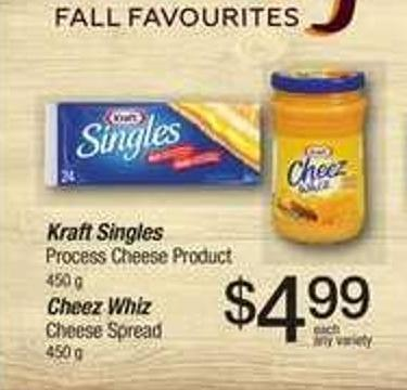 Kraft Singles Process Cheese Product - 450 g Cheez Whiz Cheese Spread - 450 g