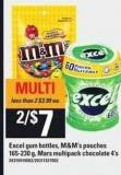 Excel GUM Bottles - M&m's Pouches - 165-230 g - Mars Multipack Chocolate - 4's