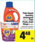 Tide Liquid Laundry Detergent - 1.09 L Or Tide PODS - Gain Flings - 12-16's