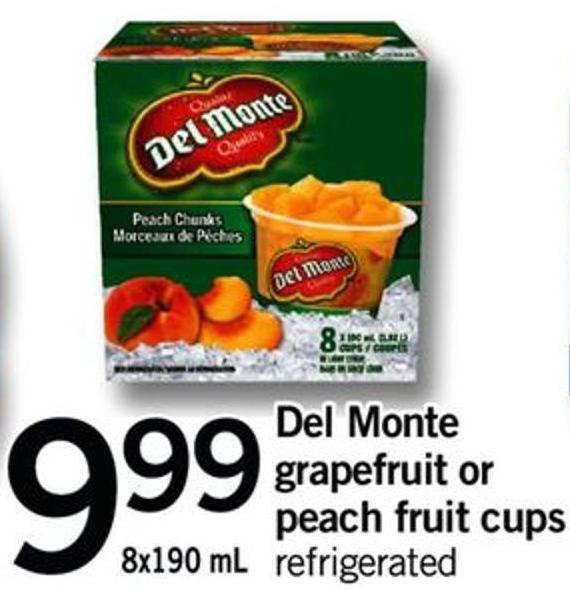 Del Monte Grapefruit Or Peach Fruit Cups - 8x190 Ml