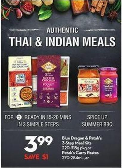 Blue Dragon & Patak's 3-step Meal Kits 220-315g Pkg or Patak's Curry Pastes 270-284ml Jar