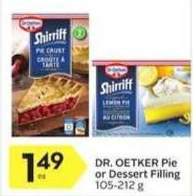 Dr. Oetker Pie or Dessert Filling