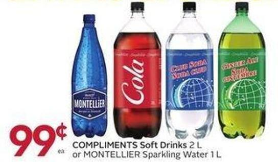 Compliments Soft Drinks 2 L or Montellier Sparkling Water 1 L