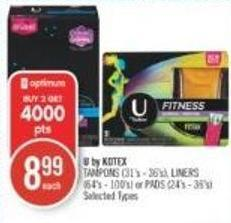 U By Kotex Tampons (31's - 36's) - Liners (64's - 100's) or Pads (24's - 36's)