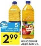 Rougemont Apple Juice 2 L 5 Air Miles Bonus Miles