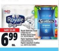 Royale Bathroom Tissue 12 Double Rolls Or Scotties Facial Tissue 6 Un.