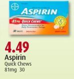 Aspirin Quick Chews 81mg 30