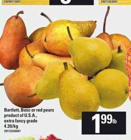Bartlett - Bosc Or Red Pears