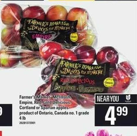 Farmer's Market Mcintosh - Empire - Red - Gold Delicious - Cortland Or Spartan Apples - 4 Lb