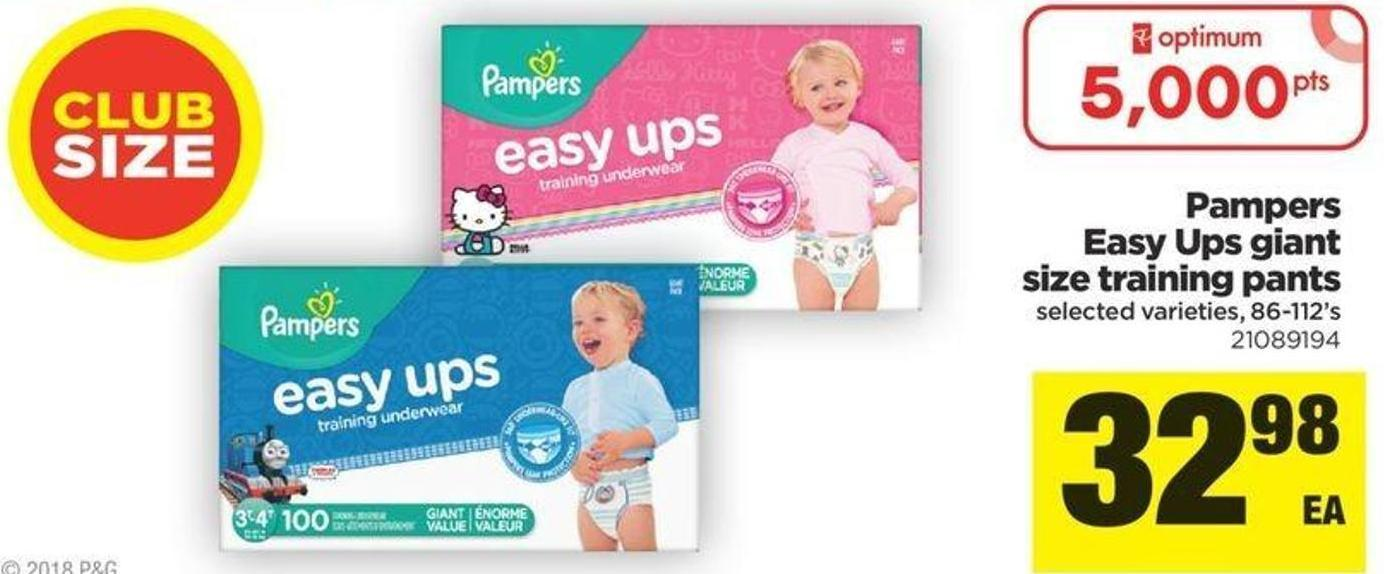 Pampers Easy Ups Giant Size Training Pants - 86-112's