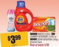 Bounce Sheets (120's) - Tide Laundry Detergent (1.09l) or Downy Scent Boosters (185g)