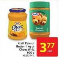 Kraft Peanut Butter 1 Kg or Cheez Whiz 900 g
