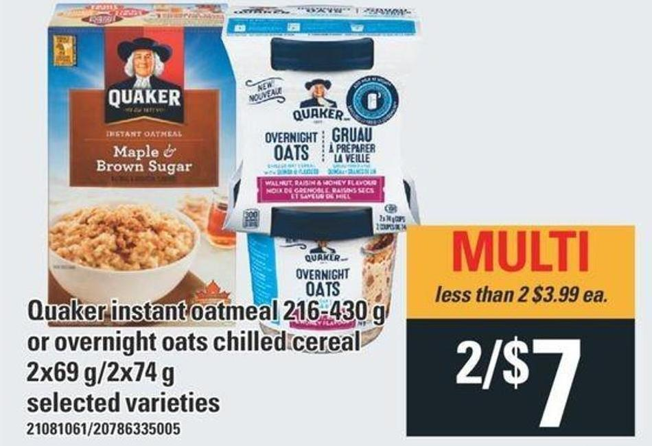Quaker Instant Oatmeal 216-430 G Or Overnight Oats Chilled Cereal 2x69 G/2x74 G