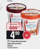 PC Frozen Dairy Dessert - 473 mL
