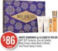 White Diamonds By Elizabeth Taylor Gift Set Contains: Eau de Toilette - Body Cream - Body Wash (100ml) and Travel Spray (15ml)