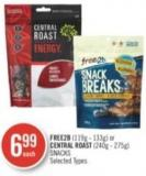 Free2b (119g - 133g) or Central Roast (240g - 275g) Snacks