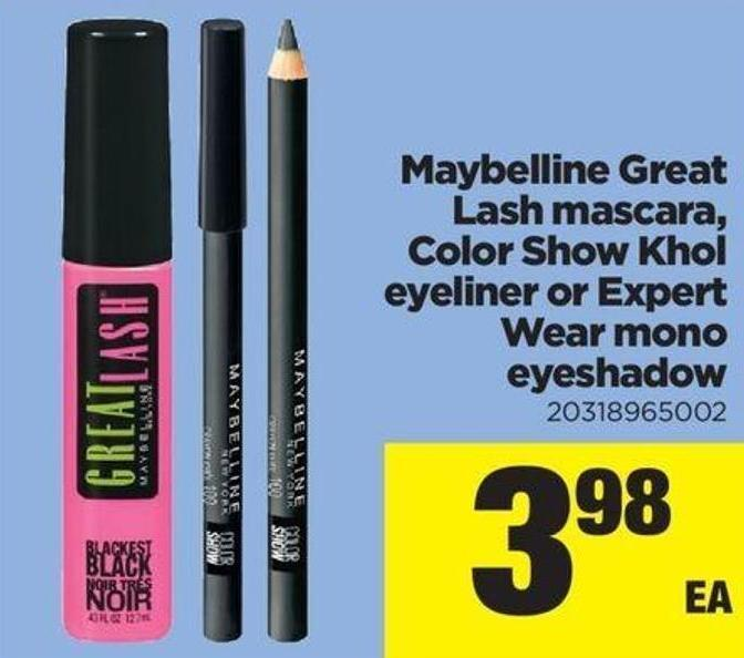 Maybelline Great Lash Mascara - Color Show Khol Eyeliner Or Expert Wear Mono Eyeshadow