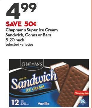 Chapman's Super Ice Cream Sandwich - Cones or Bars