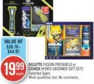 Gillette Fusion Proshield or Schick Hydro Groomer Gift Sets
