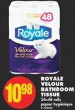 Royale Velour Bathroom Tissue - 24=48 Rolls