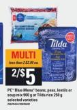 PC Blue Menu Beans - Peas - Lentils Or Soup Mix - 900 G Or Tilda Rice - 250 G