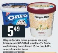 Häagen-dazs Ice Cream - Gelato Or Non-dairy Frozen Dessert 475-500 Ml - Novelties 3's - Nestlé Confectionery Frozen Dessert 1.5 L Or Bars 4-10's