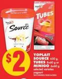 Yoplait Source 650 g - Tubes 8x60 g or Minigo 6x60 g