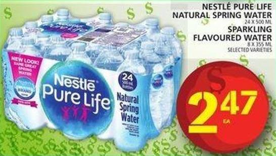 Nestlé Pure Life Natural Spring Water Or Sparkling Flavoured Water