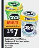 Excel - Juicy Fruit - Mentos - Dentyne Or Trident GUM Bottles - 40-60 Pcs