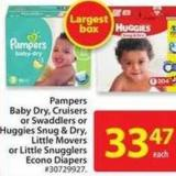 Pampers Baby Dry - Cruisers or Swaddlers Econo Diaper