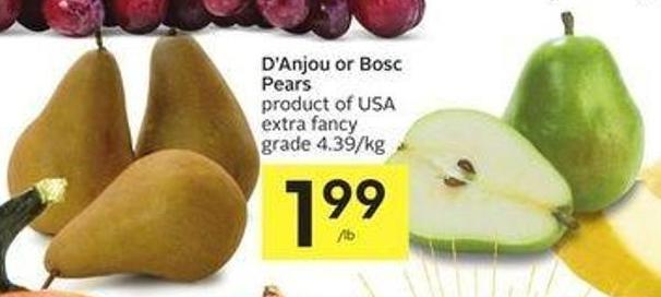 D'anjou or Bosc Pears Product of USA Extra Fancy Grade 4.39/kg