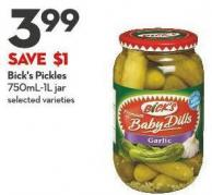 Bick's Pickles  750ml-1l Jar