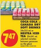 Coca-cola or Canada Dry Soft Drinks - 24x355 mL or Nestea Iced Tea - 20x341 mL