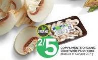 Compliments Organic Sliced White Mushrooms