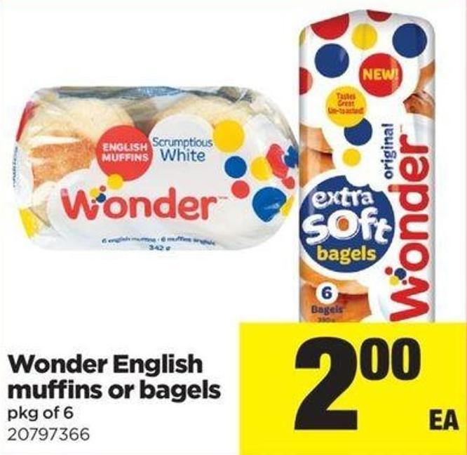 Wonder English Muffins Or Bagels - Pkg Of 6