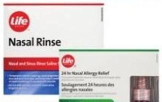 Life Brand  Nasal Rinse Sachets (100's) or Nasal Allergy Relief Spray (120's)