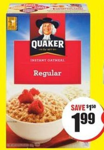 Quaker Instant Oatmeal 304-430 g on sale | Salewhale ca