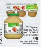 PC Organics Applesauce - 650 mL Or Appletreet - 6x100 mL
