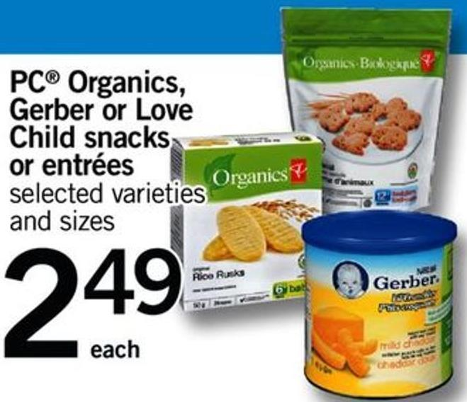 PC Organics - Gerber Or Love Child Snacks Or Entrées