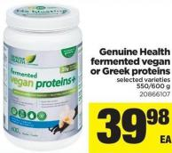 Genuine Health Fermented Vegan Or Greek Proteins - 550/600 g