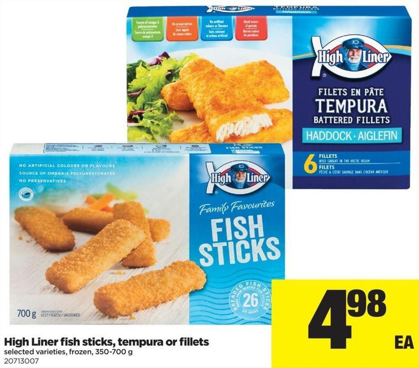 High Liner Fish Sticks - Tempura Or Fillets - 350-700 G