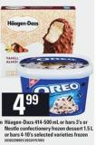 Häagen-dazs 414-500 Ml Or Bars 3's Or Nestlé Confectionery Frozen Dessert 1.5 L Or Bars 4-10's