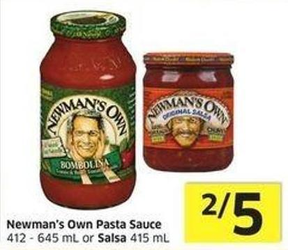 Newman's Own Pasta Sauce 412 - 645 mL or Salsa 415 mL