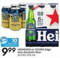Heineken or Coors Edge Non-alcoholic Beer 6x330-355 mL - 10 Air Miles Bonus Miles