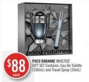 Paco Rabanne Invictus Gift Set Contains: Eau De Toilette (100ml) and Travel Spray (10ml)