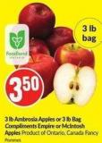 3 Lb Ambrosia Apples or 3 Lb Bag Compliments Empire or Mcintosh Apples Product of Ontario - Canada Fancy