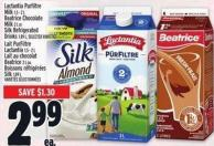 Lactantia Purfiltre Milk 1.5 - 2 L - Beatrice Chocolate Milk 2 L Or Silk Refrigerated Drinks 1.89 L